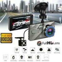 "4"" Car DVR Dash Cam Dual Lens Touch Screen 1080P HD Video Recorder Night Vision"