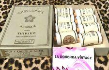FRENCH THIRIEZ 1900s WHITE COTTON THREAD~ LOT OF 8 UNUSED SPOOLS IN ORIGINAL BOX
