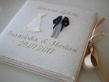 Gästebuch zur Hochzeit, Hochzeitsgästebuch BRAUTPAAR, bestickt, Wunschname