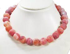 Wunderschöne Edelsteinkette aus Achat sandstrahlend in Kugelform D-15 mm aht301k