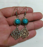 Ancient Victorian Sterling Silver Earrings Turquoise Stone Gypsy