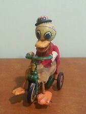 Antique Vintage Tin Friction Toy Duck in Tuxedo on Tricycle