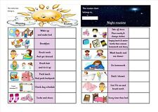 Morning & Evening routine charts for female or male use. Autism ~ Special needs