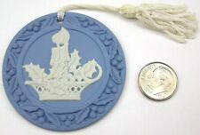 Wedgwood White on Blue Jasperware Christmas Tree Ornament Candle Chamberstick