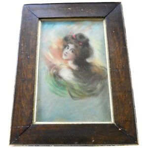 Antique Victorian Pastel Drawing Portrait Gibson Girl Lady Art Nouveau Painting
