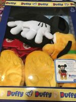 """Disney Parks Duffy Bear 17"""" Mickey Mouse Costume Outfit with Pluto Plush Box Set"""