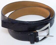 Herrebgürtel Rindleder  Krokoprägung hochwertig schwarz/braun genäht 100 cm-NEU-