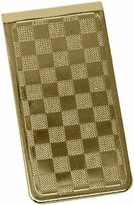 Checkerboard Gold Stainless Steel Boxed Money Clip