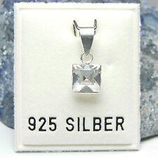 NEU 925 Silber ANHÄNGER Quadrat STRASSSTEIN crystal/kristallklar KETTENANHÄNGER
