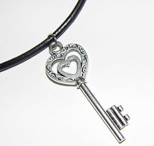 Key Necklace, Silver Love Heart Design on Leather Necklace