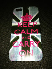 GLOSSY HARD PLASTIC BACK CASE COVER FOR APPLE iPHONE 5 5S - KEEP CALM & CARRY ON
