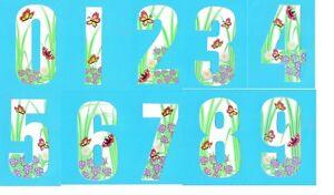 Novelty Butterfly Wheelie Bin Numbers Sticker Outdoor Weatherproof 17cm High