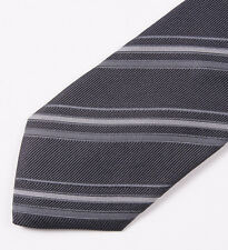 NWT $180 COSTUME NATIONAL Charcoal Gray Woven Ribbon Stripe Silk Tie