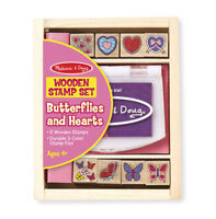 Melissa and Doug Wooden Stamp Set - Butterflies and Hearts - 12415 - NEW!