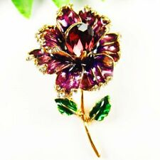 Carved Tibetan Gold Purple Drops Of Oil Flower Pendant Brooch S50248