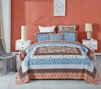 Coverlet Comforter Patchwork Bedspread 100% Cotton No Polyester King Single Blue