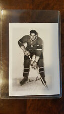 ELMER LACH HARD SIGNED PHOTO CARD MONTREAL CANADIENS HOCKEY HALL OF FAME HOF