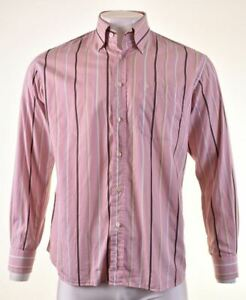ROCCOBAROCCO Mens Shirt Size 42 16 1/2 Large Pink Striped Cotton LV02