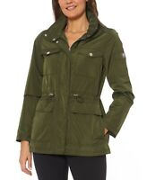Vince Camuto Cinched-Waist Water-Resistant Anorak Jacket XS Green Extra Small