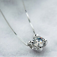 38AC 925 Sterling Silver Chic Squre Crystal Chain Necklace Pendant Girl Gift