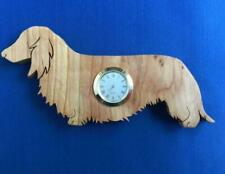 Wooden long haired dachshund clock