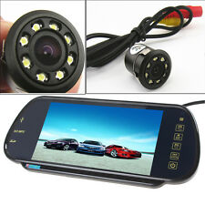 "US-7"" HD Bluetooth MP5 Car Rearview Mirror Monitor+8 LEDs Reverse Backup Camera"