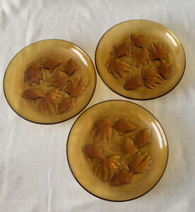 3x Vintage Amber Glass Decorative Plates Goldfish Embossed Preowned 22.5cm
