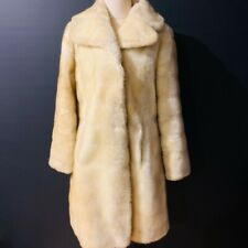 Ladies JONATHAN CRAWFORD Vintage Retro Faux Fur Cream Coat Jacket Size 10