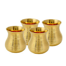 4 Pc Indian Handmade Brass Water Cup Tumbler Glass Serving Home Hotel Drink ware