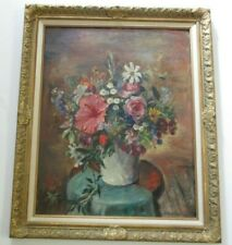 LARGE EJNAR HANSEN OIL PAINTING STILL LIFE FLORAL FLOWERS ANTIQUE AMERICAN RARE