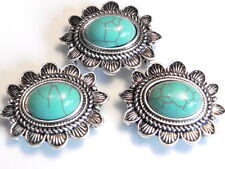 3 - 2 HOLE SLIDER BEADS ANTIQUED SILVER WESTERN CONCHO TURQUOISE LOOK CABOCHONS