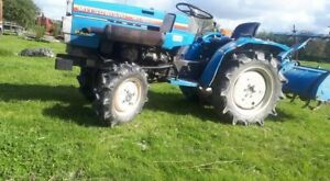 Compact Tractor Mitsubishi 4 Wheel Drive With Rotavator And Roller