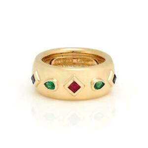 Cartier Byzantine 18k Yellow Gold & Gems 9mm Dome Band Ring Size 52 Paper