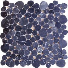 1 Netz Flusskiesel Schwarz Mosaik Fliesen Naturstein Glas Granit