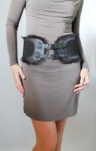 """4"""" Wide Brown Double Buckle & Faux Fur Trimming Stretch Belt"""