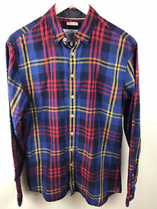 Men's Joules Blue & Red Check Long Sleeve Shirt Size Small