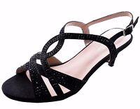 Women's  Low Heel Dress Sandals Formal Evening Open Toe Strappy Shoes