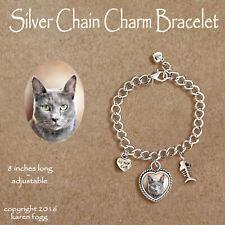 Russian Blue Cat - Charm Bracelet Silver Chain & Heart