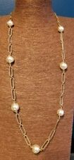 Avon Vintage Goldtone and Pearl Long Chain Link Necklace