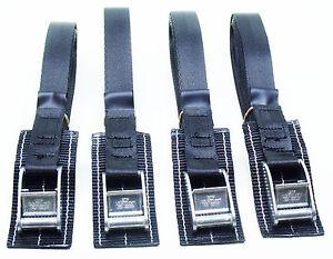 4-pack of 3.0m TOUGH PADDED Cam Buckle Straps Black - Lashing Strap Trailer Belt