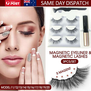 3X Eye Lashes Magnetic Extension False Eyelashes Free Liquid Eyeliner Tweezer