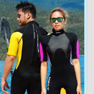 Hisea 3mm Womens Men Short Wetsuit Surf Ladies Shorty Swim Long Wet Suit S-XXL