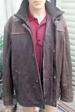 Vtg Distressed Wilsons Leather Co. Brown Zipper Button Double Collar Men's Sz XL