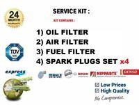 Luft Kraftstoff Öl Filter 4x Zündkerzen für Kia Rio III 1.4 CVVT 2011- > Auf