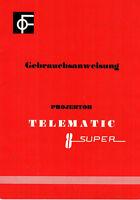 TELEMATIC Projektor Super 8 - Gebrauchsanweisung B1853A