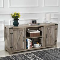 65'' Barn Door TV Stand Entertainment Center Storage Console Media Cabinet