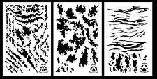 3PACK Spray Paint Camouflage Camo Stencils Stripe Digital, TACS, Tiger Stripe