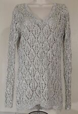 MAURICES Sz M Black White Silver Sparkle Sequined Long Sleeve See Though Sweater