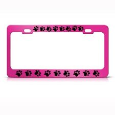 DOG CAT PRINTS PAW PAWS PINK Metal License Plate Frame Tag Holder