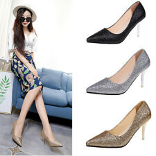 Womens Stiletto Pointed Toe Party Glitter Shallow High Heels Pumps Shoes Size